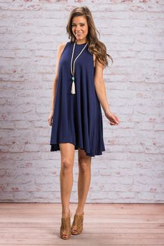 """""""Love Me Love Me Dress, Navy""""Seriously, this dress won't have to beg you to love it! You will fall head over heals the moment you slip it on! It's so light and super comfy! #newarrivals #shopthemint"""