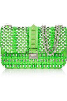 Valentino Glam Lock embellished leather shoulder bag    NET-A-PORTER
