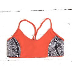 TEVITA OM CONTRAST PRINT SPORTS BRA - burnt orange / yoga / activewear / boho / health / fitness / madeinbali
