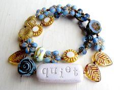 It's oh so quiet - handmade wrap bracelet, blue bracelet, bead bracelet, rose bracelet, eclectic jewellery, songbead, word jewellery