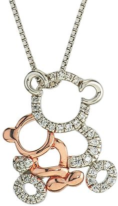 Ice 10K Two-Tone Gold and Silver Mom and Child Bear Pendant with Diamond Accents