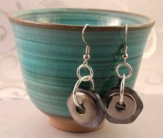 Make your own earrings from old shirt buttons!