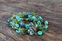 "Beaded Wrap Bracelet ""Mermaid"". Abalone button closure, Sea Glass,Celadon and Light Green Jade, Ceramic beads, Boho Chic on Etsy, $50.00"
