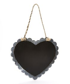 Gray Scallop Heart-Shaped Chalkboard