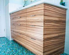 Bathroom Vanity Zebra Wood modern bath with zebrawood vanity and bisazzo glass mosaic tile