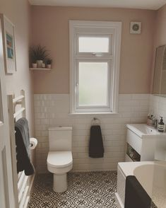 Pink Bathroom - London bathroom painted in Calamine, Farrow and Ball with tiles from wall and floor tiles from Topps Tiles and bathroom furniture from Soak. Pink Bathroom Paint, Blush Bathroom, 1930s Bathroom, Painting Bathroom Tiles, Bathroom Colors, Bathroom Wall, Bathroom Interior, Bathroom Furniture, Bathroom Windows