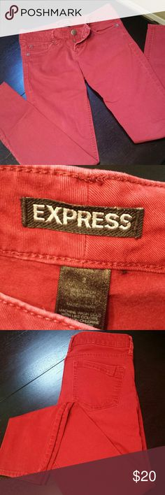 Express Skinny Jeans   Red   Size 2 Great, gently used condition (worn about 4 times), bought as a gift from another seller but unfortunately they don't fit. Soft material with some stretch. Fun addition to your wardrobe! Express Jeans Skinny