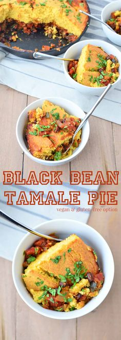 Black Bean Tamale Pie! This weeknight meal is healthy and filling! Black Bean and Zucchini Chili topped with homemade cornbread, baked to perfection! Vegan with Gluten-Free option | www.delishknowledge.com