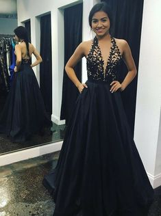 A-Line Deep V-Neck Sweep Train Black Satin Backless Prom Dress with Appliques M1524