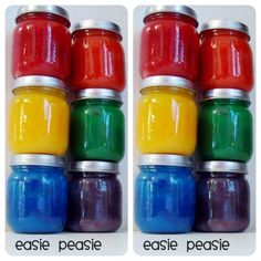 Oodles of fun with easy DIY Finger Painting Recipe - adore this easy recipe that you can make at home quickly and easily. Store in baby food containers. Great upcycle to!
