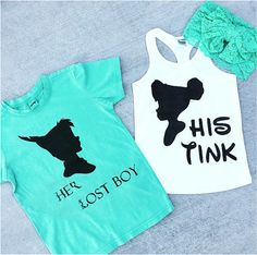 TINK y PETER PAN silueta dúo camisa y tanque - bebé, niño, niño, adulto, pareja, disneyland disney mundo Tinkerbelle Peter Pan de disney