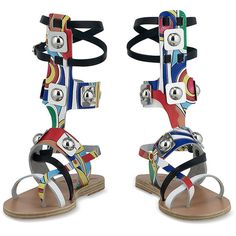 Ancient Greek Sandals Low Gladiator Sandal in Printed Colorful... ($585) ❤ liked on Polyvore featuring shoes, sandals, gladiator sandals, roman gladiator sandals, gladiator shoes, multi color sandals and gladiator sandals shoes