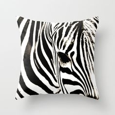 Zebra Pillow Cover, Black and White Pillow Cover, Zebra Throw Pillow, Animal Photography, stripe pillow cover - pinned by pin4etsy.com