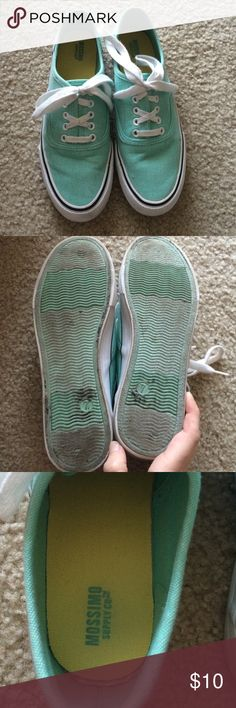 Mint Canvas Sneakers Mint colored canvas sneakers. Worn a lot so they are dirty on the bottoms, but that can be cleaned off with soap & water. Otherwise no other signs of wear. Cute and comfy for spring and summer! Mossimo Supply Co. Shoes Sneakers