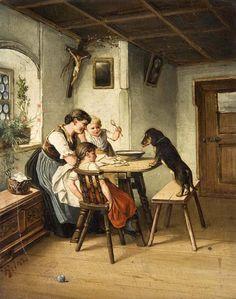 """Feeding the Dog"" -- Carl Reichert (1836 – 1918, Austrian)"