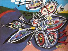 """1972 """" VERJAAGDE VOGEL"""" OLIE OP DOEK / 1972 """"CHASED BIRD"""" OIL ON CANVAS"""