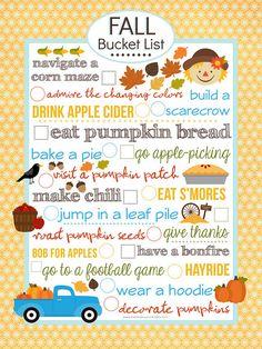 {FREE} Fall Bucket List Printable (8x10) #fall #printable #free
