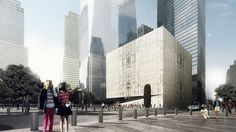 the building, rotated to accommodate complex below-grade constraints, is wrapped in translucent, veined marble.
