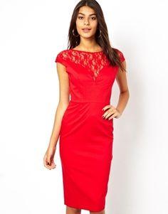 Asos Lace Top Bardot Pencil Dress - red cocktail dress