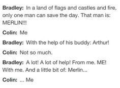 Bradley James and Colin Morgan on Arthur and Merlin