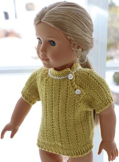 Knitted doll clothes for 18 inch doll - A light, simple and very nice outfit for the doll Crochet Doll Dress, Knitted Dolls, Crochet Hats, Girl Dolls, Baby Dolls, American Doll Clothes, 18 Inch Doll, American Girl, Knits