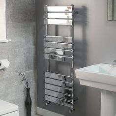 Lorenzo Beta Heat 1200 x 450 Heated Towel Rail  - Stainless Steel Bathroom Radiators - Better Bathrooms