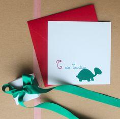 """Il n'est jamais trop tôt pour commencer l'apprentissage.  Faire-part naissance """"T de tortue"""" http://parfaire-fairepart.fr/index.php/boutique/70/T-de-Tortue"""