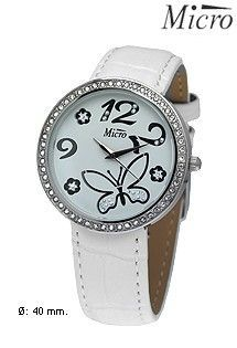 Reloj de acero para mujer y niña marca Micro con correa de cuero blanca. Con bisel de circonitas. Números árabes y motivo de mariposa.