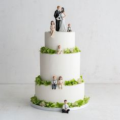 When a wedding is bringing together more than just the bride and groom, why not reflect all involved in the cake toppers? Set your sons and daughters on the fondant-covered tiers in the form of these toppers from Little Things Favors that can be personalized by age, hair color, and eye color. Or opt for a modern look with a handmade acrylic family silhouette topper by TrueLoveAffair on Etsy that can be turned into a keepsake display.