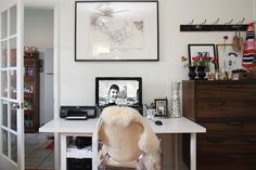 Sheepskin rug on lucite chair