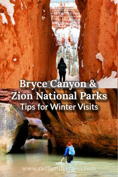 Visiting Zion and Bryce Canyon National Parks in winter means exploring and enjoying outdoor activities without the crowds. Before you hit the road to Utah with your family, check out these tips and ideas for winter time adventures in and around Bryce and Zion. Enjoy hiking, canyoneering, snowshoeing, skiing, snowmobiling and more with your kids and teens. #winter #nationalparks #zion #bryce #hiking #wintervacation #adventuretravel #getoutside