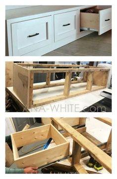Bench With Drawers, Diy Drawers, Diy Bench With Storage, Bedroom Drawers, Craft Storage, Bedroom Storage, Diy Storage Platform Bed, Dyi Bench, Entry Bench Diy