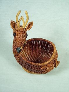 Cute Avon Reindeer Wicker Basket from the 1980s, Christmas