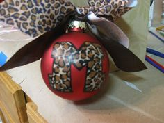 Christmas Ornament..Leopard Design with initial.