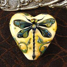 Kerribeads Lampwork Large Dragonfly Heart Focal Bead