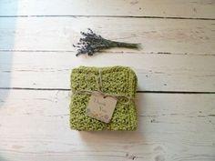 Olive Green Crochet Dishcloths / Washcloths by ThePrairieBoutique