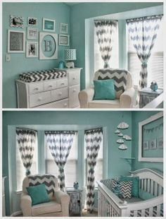 Teal and grey with chevron nursery - Deko & Design - Bedding Master Bedroom Baby Bedroom, Baby Boy Rooms, Baby Room Decor, Baby Boy Nurseries, Nursery Room, Baby Room Colors, Baby Room Color Ideas, Baby Room Ideas For Girls, Nursery Decor