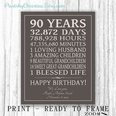 90th BIRTHDAY GIFT Sign Print Personalized Art Mom Dad Grandma Birthday Grandpa Or Digital Download