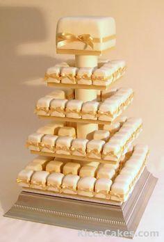 Square wedding cupcakes | 39 square mini cakes with gold ribbon 39 square mini