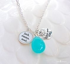 Personalized Name Pendant Charm Necklace with Custom Gemstone