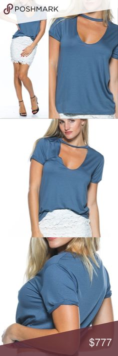 "BLUE CHOKER T-SHIRT BRAND NEW BOUTIQUE ITEM  PRICE IS FIRM  MADE IN THE USA  This sassy choker detail tank top adds a new twist to a plain tank top. Comfortable and sassy!  ((Available in PEACH,  or GRAY ))  95% rayon/5%spandex Model is wearing a Small (Waist 25"", Bust 32D"", Hips 36"") ... Tops Tees - Short Sleeve"