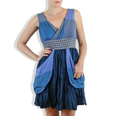 Azure one of a kind upcycled silk dress with by ShopGinaMichele