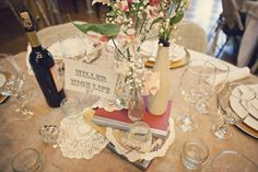 Love the doilies and old books