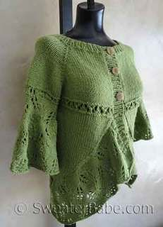 #119 Eyelets and Lace Curved Hem Cardigan PDF Knitting Pattern  #knitting #SweaterBabe.com. LB Amazing in Rainforest?