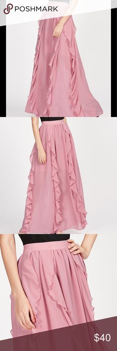 Frill Trim Maxi skirt Item#HXH1357119 measurements see photo chart. This gorgeous maxi features a band high waist with zip closure. Semi sheer skirt with lining skirt halfway to the knee. Skirts Maxi