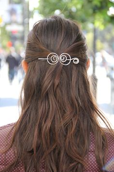 Silver, hair clip, wire, hair barrette, spiral, hair bow, swirly, hair pin, shawl pin, scarf pin, brooch, gift for her, knitting accessories