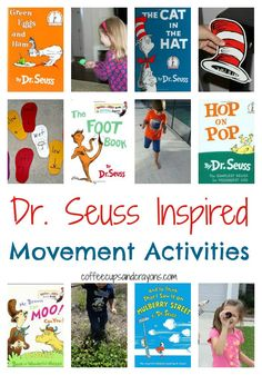 Dr Seuss Inspired Movement Activities for Kids! Dr. Seuss, Dr Seuss Week, Movement Activities, Gross Motor Activities, Music Activities, Infant Activities, Physical Activities, Physical Education Games, Team Building Activities