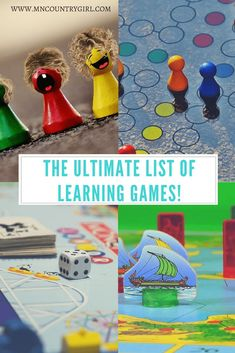 The ultimate list of learning games! Check out the best and fun list of educational board games great for kids! Fun Learning Games, Educational Board Games, Fun Games, Fun Activities, How To Start Homeschooling, Family Game Night, Learning Through Play, Homeschool Curriculum, Teaching Kids