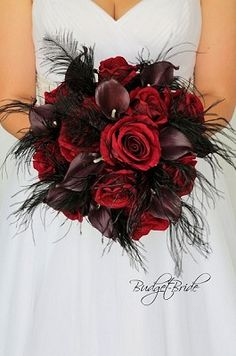 red and wine wedding flower brides bouquet accented with black feathers per. red and wine wedding flower brides bouquet accented with black feathers per. {Fall in love with these ethereal goddess-esque silhouettes by Leanne Marshall Junebug Weddings Spring Wedding Bouquets, Red Bouquet Wedding, Red Wedding Flowers, Prom Flowers, Bride Bouquets, Halloween Wedding Flowers, Pretty Flowers, Red Flower Bouquet, Black Bouquet