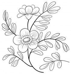 Résumé fleur symbolique, contours monochromes, isolé Banque d'images - 12886998